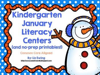 Kindergarten January Literacy Centers - Common Core Aligned