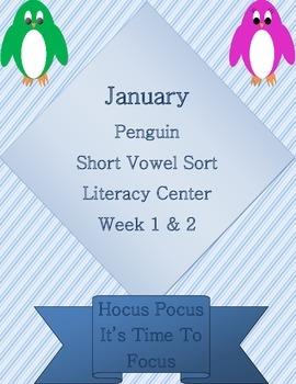 Kindergarten Penguin Short Vowel Sort Week 1 & 2 Literacy Center