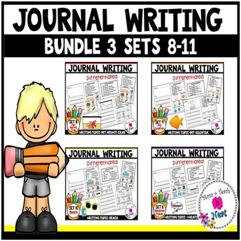 Kindergarten Journal Writing Prompts Differentiated-BUNDLE 3 Sets 8-11