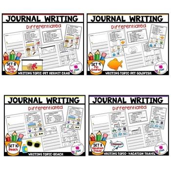 Kindergarten Journal Writing Prompts Differentiated-MEGA  BUNDLE Sets 1-11