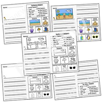 Kindergarten Journal Writing Prompts Differentiated- Set 10 Beach