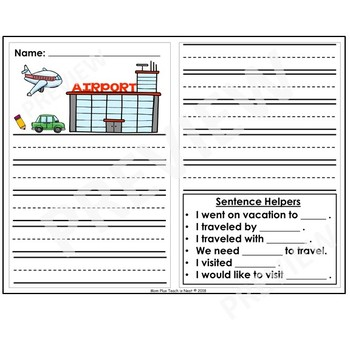 Kindergarten Journal Writing Prompts Differentiated- Set 11 Vacation