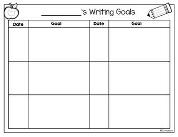 Kindergarten Journals   Writer's Checklist and Goals
