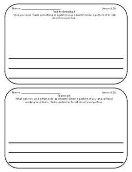 Kindergarten Journey's Unit 6 Leveled Reader Response Sheets