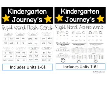 Kindergarten Journeys Sight Word Flash Cards And Assessments Bundle
