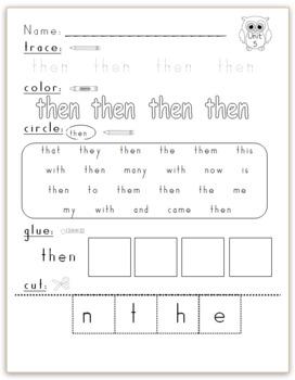Kindergarten Journeys (2014) Sight Word Practice Unit 5