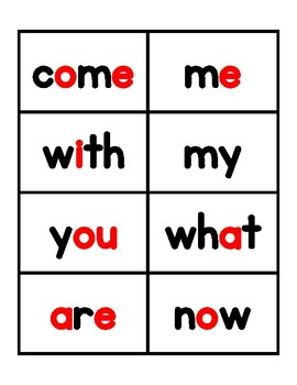 Kindergarten Journeys 2017 High Frequency Word Cards - red and black
