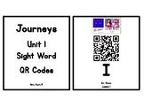 Kindergarten Journeys 2017 Unit 1 Sight Words QR Codes - Ink Saving Option