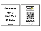 Kindergarten Journeys 2017 Unit 3 Sight Words QR Codes - Ink Saving Option