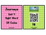 Kindergarten Journeys 2017 Unit 4 Sight Words QR Codes