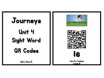 Kindergarten Journeys 2017 Unit 4 Sight Words QR Codes - Ink Saving Option