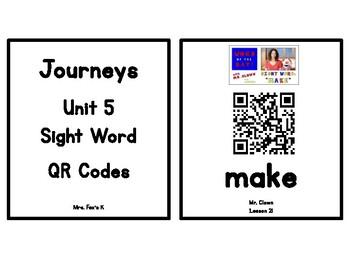 Kindergarten Journeys 2017 Unit 5 Sight Words QR Codes - Ink Saving Option