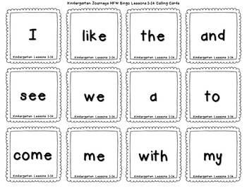 Sight Words Bingo {For Use With Kindergarten Journeys}