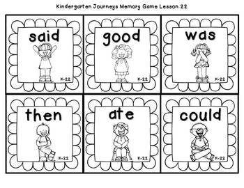 Sight Words Memory {For Use With Kindergarten Journeys}