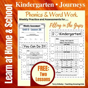 Kindergarten-Journeys FREE-Lessons 1 & 26 Phonics/Word Work-Filling in the Gaps