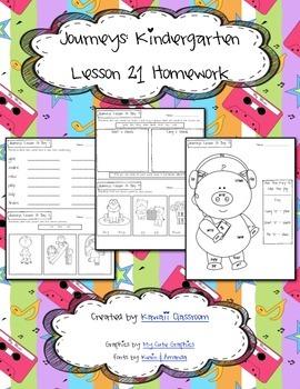 Kindergarten Journeys Lesson 21 Homework