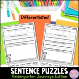 Sentence Puzzles {For Use With Kindergarten Journeys} Dist