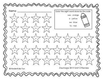Kindergarten Journeys Sight Words Unit 2 (2011 edition)