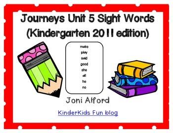 Kindergarten Journeys Sight Words Unit 5 (2011 edition)