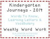 Kindergarten Journeys 2014, Spelling Vocabulary Center Act