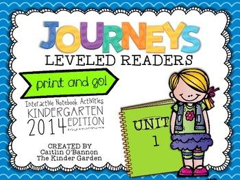Kindergarten Journeys Unit 1 Interactive Notebook Activities for Leveled Readers