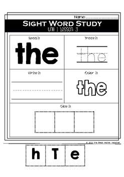 Kindergarten Journeys Unit 1 Sight Word Supplement