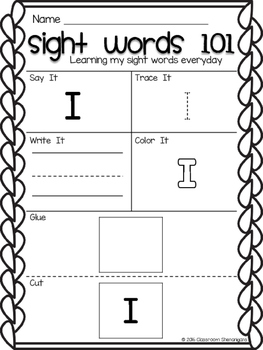 Kindergarten Sight Words Journeys Unit 1
