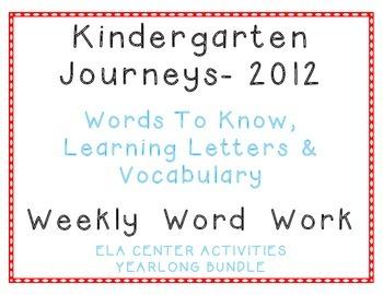 Kindergarten Journeys, Sample of Spelling Vocabulary Center Activity Bundle