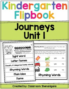 Kindergarten Journeys Unit 1 Weekly Skills Flipbooks