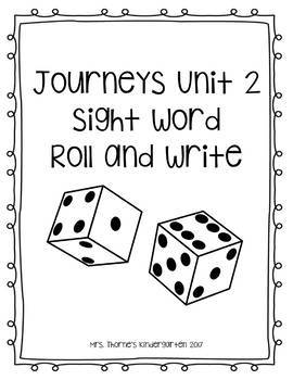 Kindergarten Journeys Unit 2 Roll & Write
