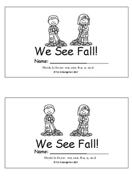 Kindergarten Journeys (Unit 2): We See Fall! Sight Word Book