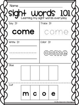 Kindergarten Sight Words Journeys Unit 3