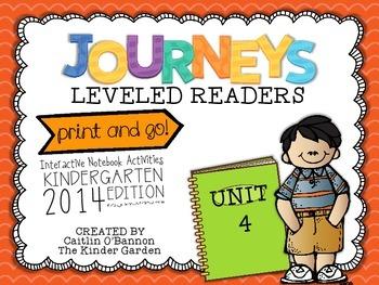 Kindergarten Journeys Unit 4 Interactive Notebook Activities for Leveled Readers