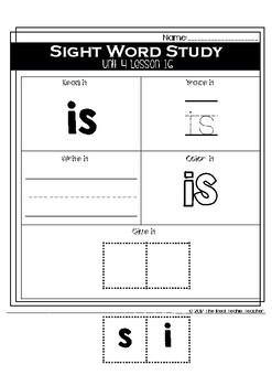 Kindergarten Journeys Unit 4 Sight Word Supplement