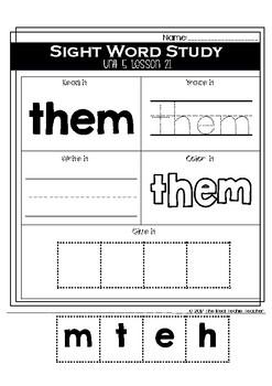 Kindergarten Journeys Unit 5 Sight Word Supplement