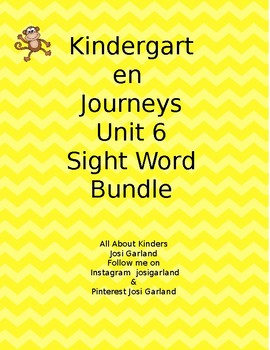 Kindergarten Journeys Unit 6 Sight Word Games