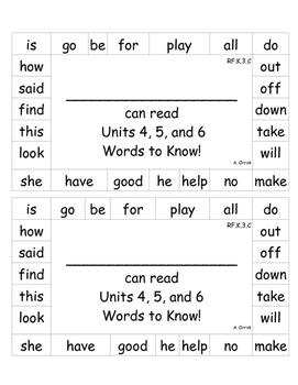 Kindergarten Journeys Words to Know Punch Cards