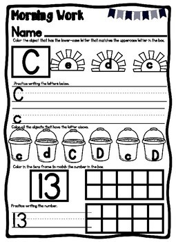 Kindergarten June Morning Work