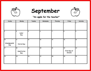 Kindergarten Kalendar Refills for 2017