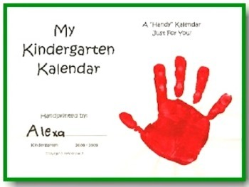 Kindergarten Kalendars Handprint Collection for 2017