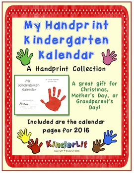 Kindergarten Kalendars - A Handprint Collection for 2016