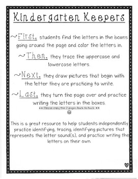 Kindergarten Keepers Letter Boxes
