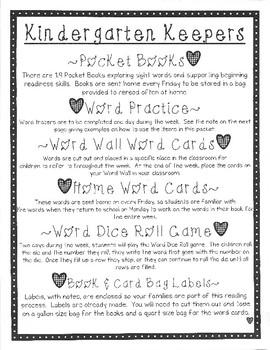 Kindergarten Keepers Pocket Books & Word Study Activities