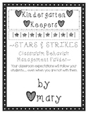 Kindergarten Keepers Stars & Strikes Classroom Behavior Ma