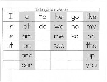 Kindergarten Keepers Word Boxes (List One)