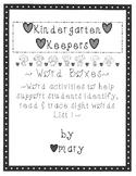 Kindergarten Keepers Word Boxes (List One)