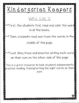 Kindergarten Keepers Word Boxes (List Two)