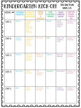 Kindergarten Kick-Off Ten Day Plan