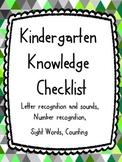 Kindergarten Knowledge Checklist