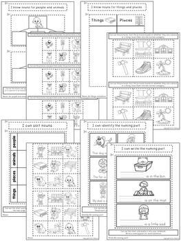 Kindergarten Language Arts Interactive Notebook ~ Parts of Speech